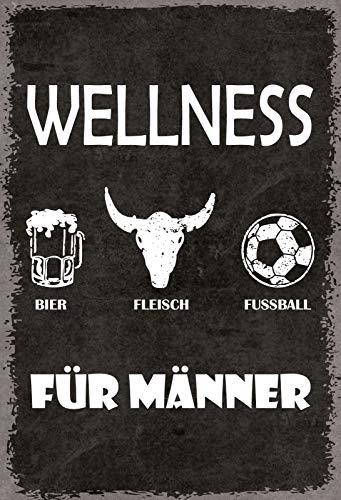 FS Spruch Wellness für Männer Blechschild Schild gewölbt Metal Sign 20 x 30 cm