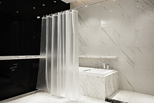 LJM 3D Effect EVA Shower Curtain Bath Curtain Liner Waterproof Mildrew Resistant (White)