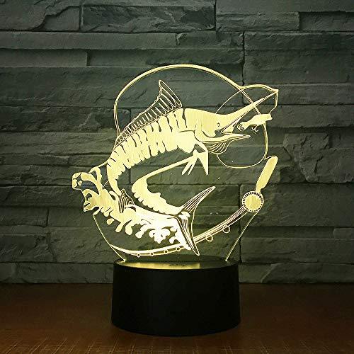3d nachtlicht,Angeln 3D Led Licht Stereo Acryl Dekor Nacht Lampe Fisch Essen Köder Stimmung Beleuchtung 7 Farben Ändern Illusion Geburtstagsgeschenk Kinder Spielzeug