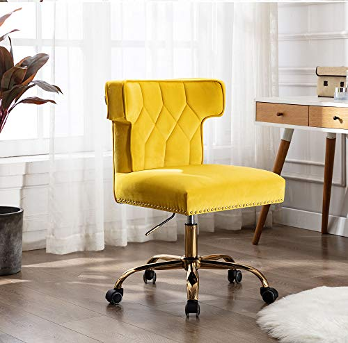 Rhomtree Wingback Traditional Tufted Soft Multifunction Executive Swivel Ergonomic Home Office Chair Modern Leisure Office Chair (Yellow)