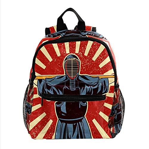 Mochila Escolar Kendo japonés Backpack Primaria Pequeña Guardería Mochila Preescolar para Niños de 3-8 Años 25.4x10x30 CM