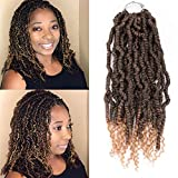 Passion Twist Crochet Hair 6 Packs Pretwisted Spring Twist Hair Befunny Prelooped Ombre Crochet Braids With Curly Ends Pre Twisted 2S Short Mini Bomb Synthetic Braiding Hair For Women (12, 1B/27)