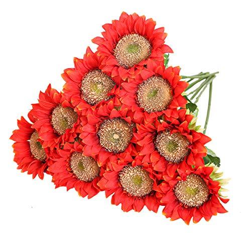 Tifuly de Girasoles Artificiales, Girasol Falso de Seda de vástago Realista de 16.9 Pulgadas para la decoración del jardín del Banquete de Boda del Hotel en el hogar, arreglo Floral (10 Piezas-Rojo)