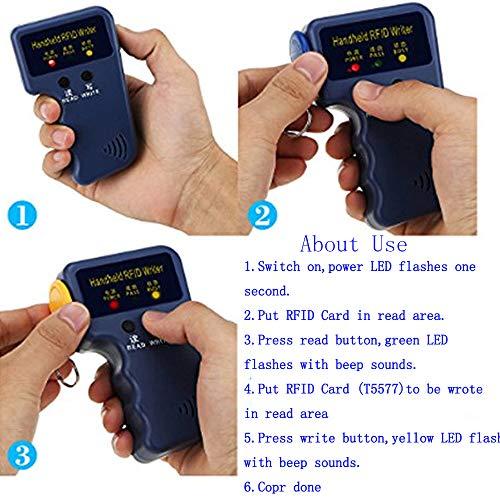 OBO HANDS Handheld 125KHz RFID Blocking Reader Writer Copier Duplicater (Not Support HID)+ 10pcs Writable T5577 Key Cards