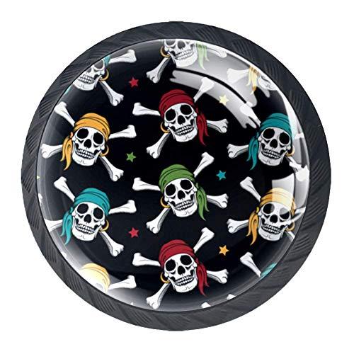 Crossbone Skull Pirates Colorful Scarf Schubladenknopf mit Schrauben Schrank Schubladenzuggriff 4 STÜCKE für Zuhause, Büro
