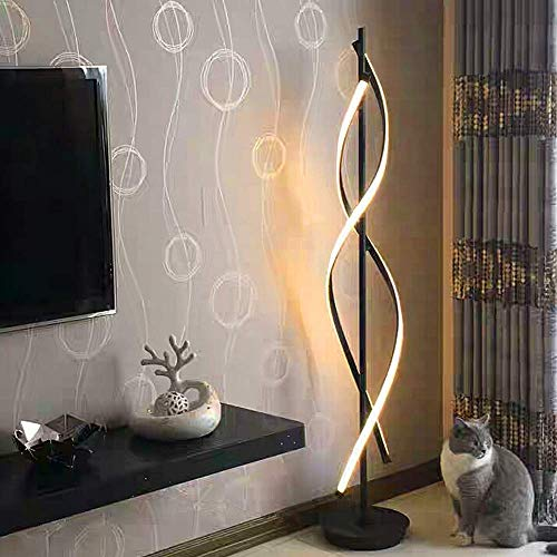 ELINKUME Lampadaire Dimmable LED Blanc Chaud Spirale Moderne Unique Design 30W Réglable Éclairage Intérieur Lampe de Salon/Lumière de la Chambre AC 220V (Noir)