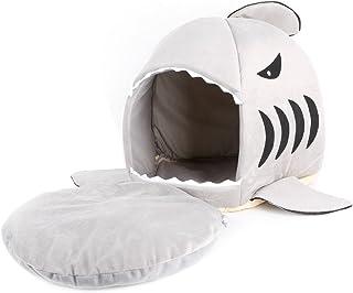 Qiuxiaoaa Pet House Semi-fermé Requin Mignon Bouche Teddy Chien Chat Lit pour Animaux Domestiques Maison Chien Chien Chaud...