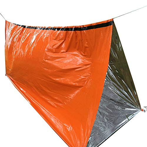 Hihey Notfall Biwak Sack Survival Schlafsack PE Aluminium Folienschlafsack Outdoor Survival Tool Kälteschutz –Thermo-Isolierung Leuchtend Orange Außenseit