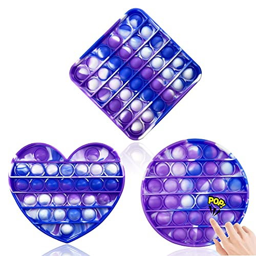 3pcs Push Pop Bubble Fidget Sensory Toy, Autism Special Needs Stress Reliever Silicone Squeeze Toy,Pop Pop Fidget Toy for Kids and Adults (Colorful1)
