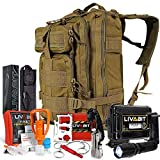 LIVABIT SOS Bug Out 3 Day Backpack Emergency Survival Camping Hunting Hiking Gear Essentials Tan for Preppers Hikers Survivalist