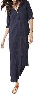 neveraway Women Long Sleeve V Neck Solid Color Split Casual Linen Long Dress