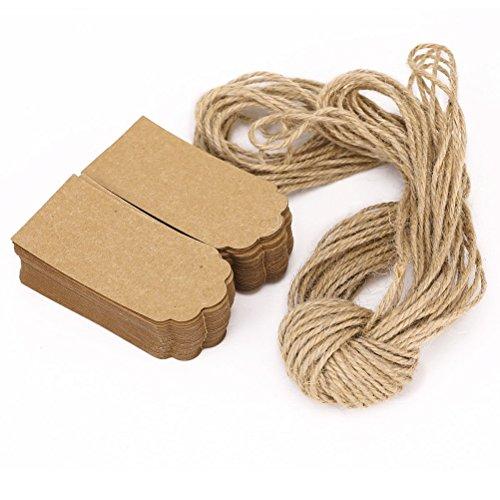 NUOLUX, 100 pezzi, stile rustico, 45 x 90 cm, colore: marrone con bordi smerlati, prezzo Etichetta per bagaglio, con corda, 10 m