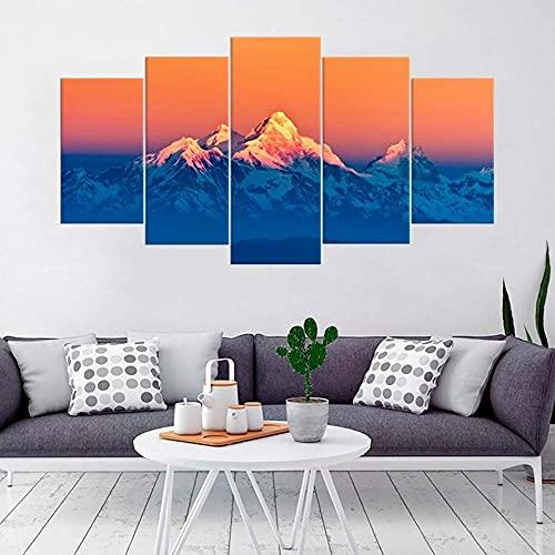 IJNHY 5 Piezas Pintura sobre Lienzo Moderna Paisaje de Las montañas del Himalaya Impresión del Hogar Sala Estar Dormitorio Cuadro sobre Lienzo Listo para Colgar 150 * 80Cm con Marco