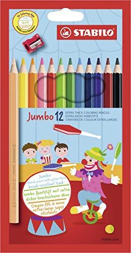 Dicker Buntstift - STABILO Jumbo - 12er Pack - mit 12 verschiedenen Farben - inklusive Spitzer