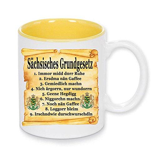 Handmade by GmH Kaffeebecher Sächsisches Grundgesetz Ostalgie rundum Bedruckt