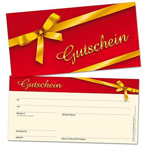 Geschenkgutscheine für Kunden, branchen-neutral verwendbares Design, 50 Karten DIN lang, blanko, selbst beschriften mit Euro-Betrag, Name & Firmen-Stempel, beliebte Geschenk-Idee auch zu Weihnachten