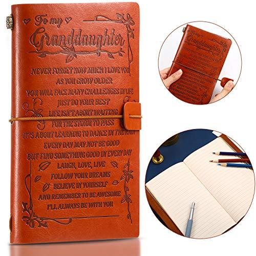 1 Piece Granddaughter Journal PU Leather Journal from Grandma Writing Notebook Embossed Vintage Refillable Writing Journal Diary Notebook for Christmas Birthdays