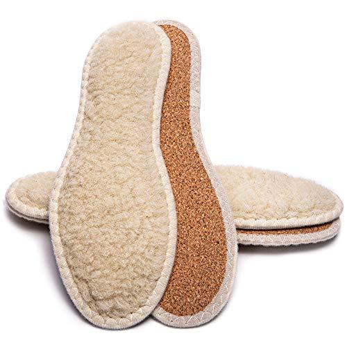 SULPO 2 Paare Lammfell Wolle mit Kork wärmende Einlegesohlen Wintersohle für Schuhe dicke Einlagen gegen kalte Füße thermo Schuheinlagen fuer Arbeitsschuhe Größe 36-47