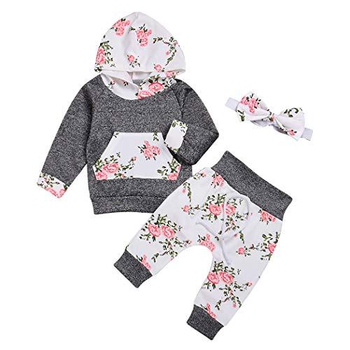 Edjude Conjuntos Floral Bebé Niñas Manga Larga Trajes de Sudaderas Pantalones con Capucha Recién Nacido Diadema 18-24 Meses Gris