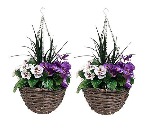 2 x Artificial Hanging Baskets with Purple and White Flowers and Decorative Grasses (Set of 2)