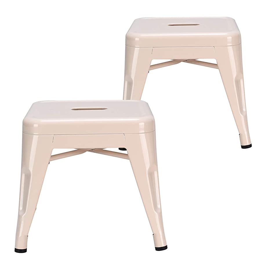 COSTWAY Kids Metal Stools Steel Barstools Vintage Antique Style Counter Bar Stool (Milky White, Set of 2)