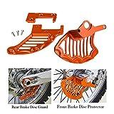 Gzcfesbn Protector de protección del Disco de Freno Trasero Delantero de Las Motocicletas para Husqvarna Te Fe TC FC 125 250 300 350 450 501 Durable (Color : Orange)