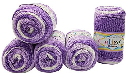 Bebe Batik - 5 ovillos de lana para bebé (100 g, 500 g), multicolor