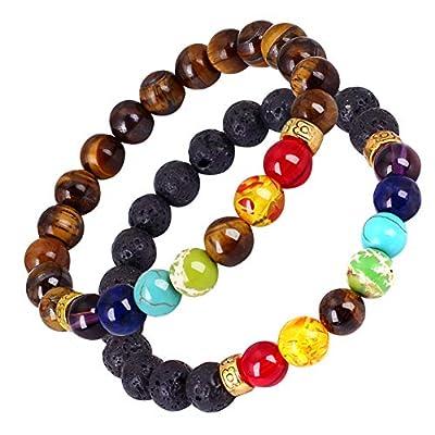 VEIMIS Men's and Women's Bead Bracelet Bead Chakra Bracelet - 7 Chakras 8mm Aromatherapy Essential Oil Diffuser Bracelet Natural Stone Yoga Beads Bracelet Bangle (Lava & Tiger)