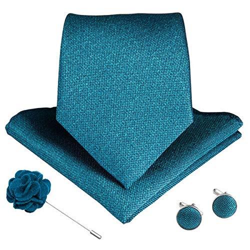 XXYHYQHJD 15 Estilos Azul Teal Lazo de los Hombres del pañuelo de Las Mancuernas Broche de Seda de los Hombres Corbata de 8 cm de Ancho Lazos for los Hombres de Negocios Formal de la Boda