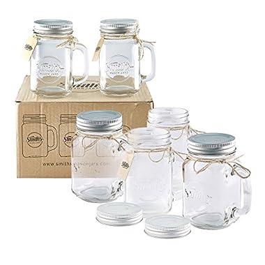 Smiths Mason Jars 6 x 16oz Mason Jar Mugs with Lids, Great Mason Jar Old Fashioned Glasses