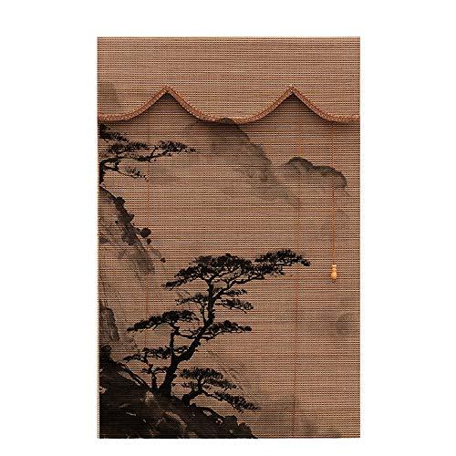 HAIZHEN Velas de Sombra Ventana de Cortinas Romanas de bambú Ciegos Las Cortinas Romanas de privacidad Tela de Las persianas de bambú Cortina de persianas de Rodillo Balcón de ventilación a Prueba de