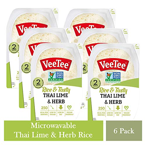 VeeTee Rice & Tasty Thai Lime & Herb – Microwavable Instant Rice – 10.6 oz – Pack of 6