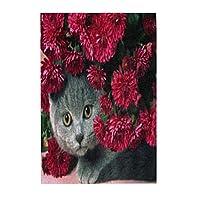 猫と赤の花 木製パズル300ピース楽しいパズル減圧パズル300ピースバースデーギフトホリデーギフト