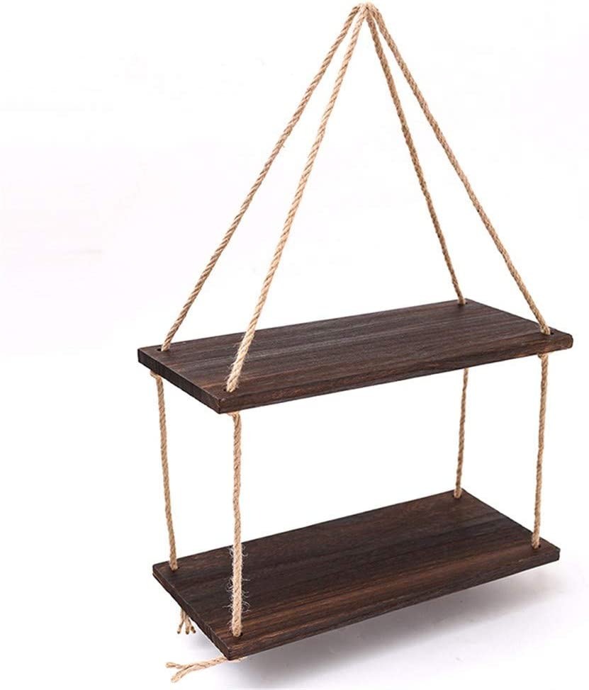 Mail Cheap super special price order Swing Rope Floating Shelf 2 Hanging Storage Tier Rop Bamboo
