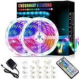 32.8ft LED Strip Lights, CNSUNWAY RGB Color Changing LED Light Strips Kit with 44 Keys Remote Control, SMD 5050, DIY Mode, Timing Function for Bedroom TV Party Home Decora