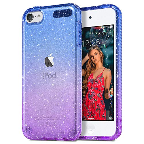 ULAK Coque iPod Touch 7 Paillettes, iPod Touch 6/5 Transparente Étui Housse Souple Bumper TPU Protection Antichoc Anti-Rayures Coque pour Apple iPod Touch 5ème/6ème/7ème Génération, Violet Bleu