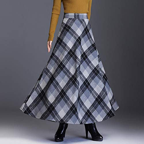 Astemdhj Falda Escocesa Scottish Skirt Otoo Invierno Cintura Alta Paraguas Escocs Maxi Falda Mujeres Casual Bolsillo Inglaterra Rejilla Falda A Cuadros Falda Larga XXL Graygrid