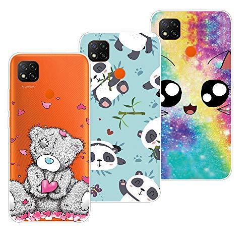 QC-EMART 3 Pezzi per Xiaomi Redmi 9C Cover Custodia in Silicone Morbida Trasparente con Disegni Stilosa Sottile Protettivo Case Copertura per Xiaomi Redmi 9C Panda Orso Unicorno