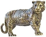 MIAOLIANG Adornos de decoración del hogar, Estatua de Tigre de Bronce clásica, estatuilla de Animales de latón, Escultura de pisapapeles de decoración de Escritorio, Figuras de Escultura