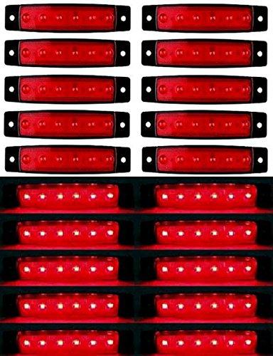 20 x 24 V 6 LED Rouge Feux de Gabarit Arrière Latéraux pour Remorque Camion Camion Camper Camper