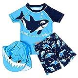 Natashas Kinder Jungen Badebekleidung Schwimmanzug Badenmode Langarm UV-Schutz 50+ Bade-Set Hai mit Badekappe (110-120CM)