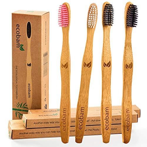 Ecobam Bamboo Charcoal Toothbrush Eco Friendly Tooth Brushes Natural Biodegradable Vegan Organic Toothbrushes With Wooden Handle For Family and Kids