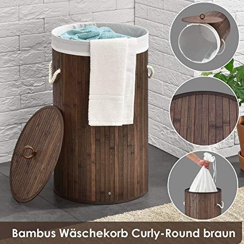 Juskys Bambus Wäschekorb Curly-Round mit Deckel & Stoff Wäschesack - 55 Liter Volumen – Wäschesammler mit 1 Fach - 60 cm hoch – rund – braun