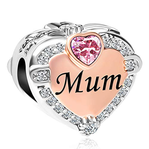 UNIQUEEN Rose Gold Mum Heart Beads October Birthstone Charms for Charm Bracelet