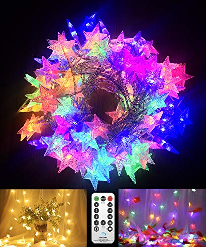 Fairy String Lights Plug in Mains Power,15M 100 LED Star String Lights Waterproof with 9 Modes Remote Control, Outdoor Garden Lights Patio Bedroom Party Indoor/Outdoor-Warm White Multicolored