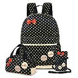 School Bags for Girls Cute Dot 3 Sets Kids Book Bag School Backpack Handbag Purse Lightweight Waterproof Canvas Versatile Backpack (Black)