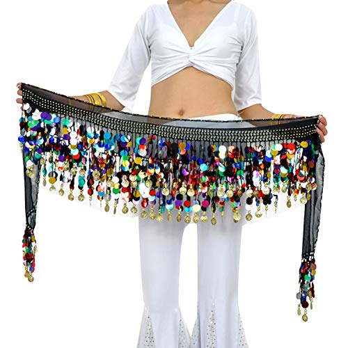 88 Colorful Gold Coins Plus Size Chiffon Belly Dance Hip Scarf Dance Skirt Belt Waist Chain (Colorful)