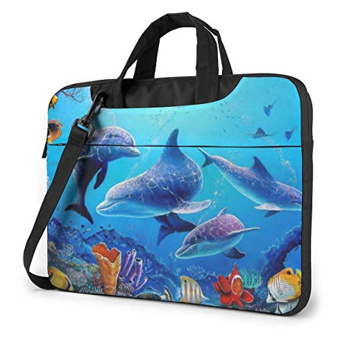 XCNGG Shockproof Laptop Bag Sea World Dolphin Tropical Fishes Coral Durable Case Sleeve Cushion Protective Laptop Briefcase