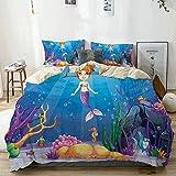Juego de funda nórdica beige, Mermaid Magical Underwater World La Sirenita y diferentes tipos de peces, ilustraciones con tema del océano, juego de cama decorativo de 3 piezas con 2 fundas de almohada