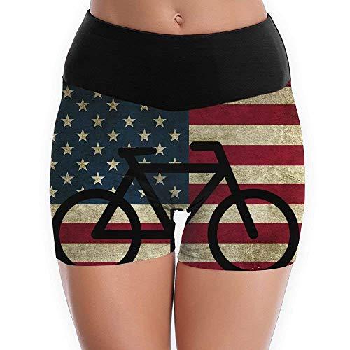 Danielrio Women's Fitness Pants Mountain Bike American Flag Yoga Shorts Pants Running Shorts Slim Fit MultiMedium